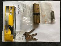 Yale Anti-snap Euro Double Cylinder (50-45mm) Polished Brass