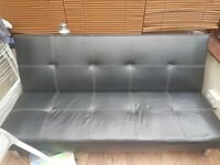 Sofa bed black leather look