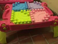 Mega Blok table and large box of bloks
