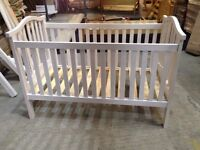 Small baby Cot, Solid Pine, Whitewash Finish, slatted design, 3 heights - SECONDS, EX DISPLAY UNUSED