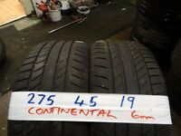 matching pair of 275 45 19 continentals 6mm tread £90 pairsupp & fittd 7-dys(LOADS MORE AV 7-DAYS)