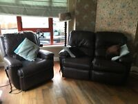 THREE PIECE BROWN LEATHER G PLAN SOFA WITH TWO ELECTRIC RECLINERS