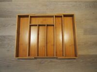 Bamboo Expandable Wooden Cutlery Tray - good condition -