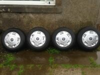 transit wheels and tyres VGC 5mm plus tread with hub caps bargain 2015 7mm +