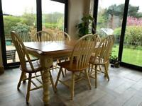 Farmhouse solid wood table and 6 chairs