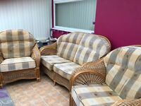 Wicker 3 piece suite for conservatory