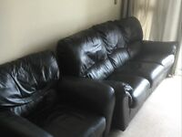 Black leather sofas, 3 X 1, in vgc, delivery possible too