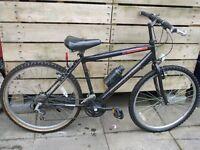"Black mountain bike 18"" frame, 21 speed"