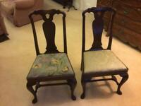 Two identical antique mahogany chairs