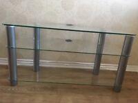 3 tier glass & chrome TV stand, 1 meter long, 46cm deep, 52cm high