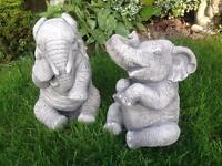 Pair stone garden elephant statues, lovely detail. New