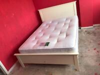 White wood double bed with orthopaedic mattress £125