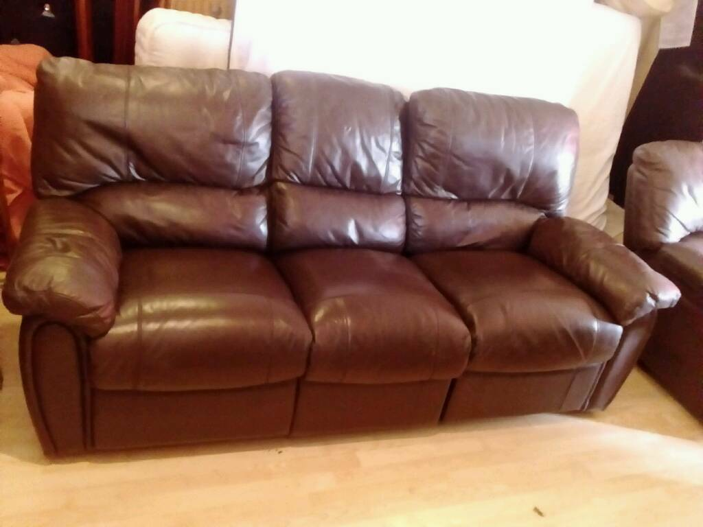 3 2 Seater Brown Leather Recliner Sofa In Reading Berkshire Gumtree