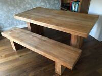 Modern solid teak dining table and bench seat
