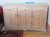 Sideboard, lime-washed pine. 3 drawers, 1 x double, 1 x single cupboard. Used but good condition.