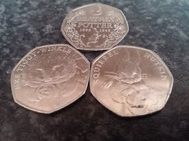 BEATRIX POTTER COLLECTABLE 50P COINS X 3