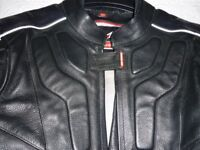 Black leather bike Jacket in new condition by Hein Gericke - unisex, 36 ins chest