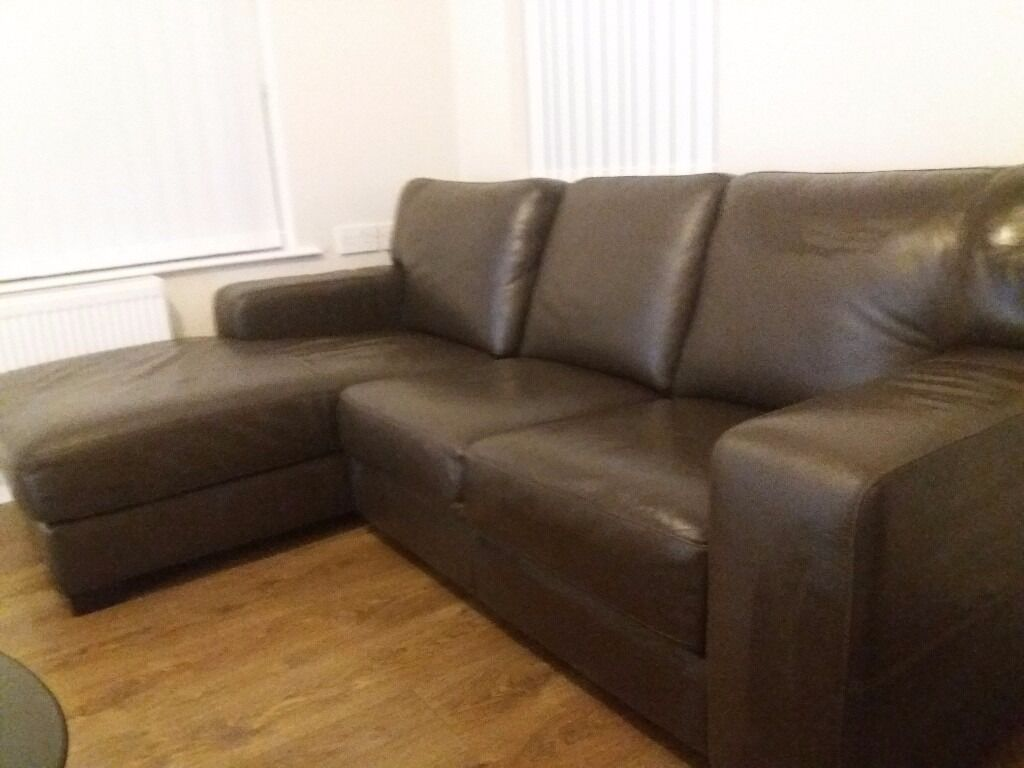Dark Brown Italian Leather Corner Sofa In Newry County