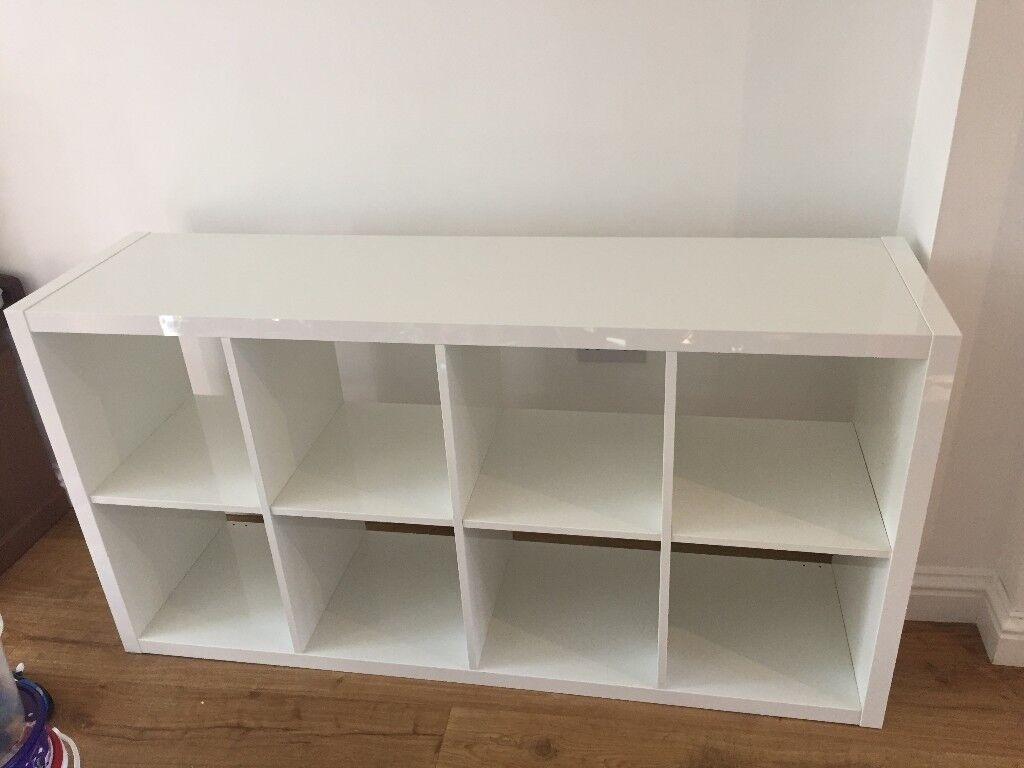 Ikea Kallax High Gloss White 8 Cube Storage Unit In