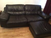 Large brown leather sofa with small Ottoman (with storage)