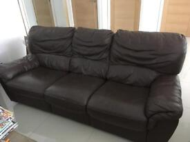 Three seater reclining faux leather large sofa