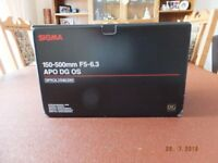 sigma 150-500mm lens canon fit new condition