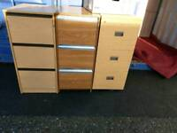 3 x wooden 3 draw filing cabinets on clearance just £20 each