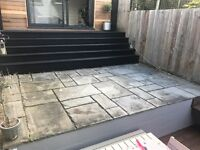 Grey tumbled Indian Limestone paving slabs