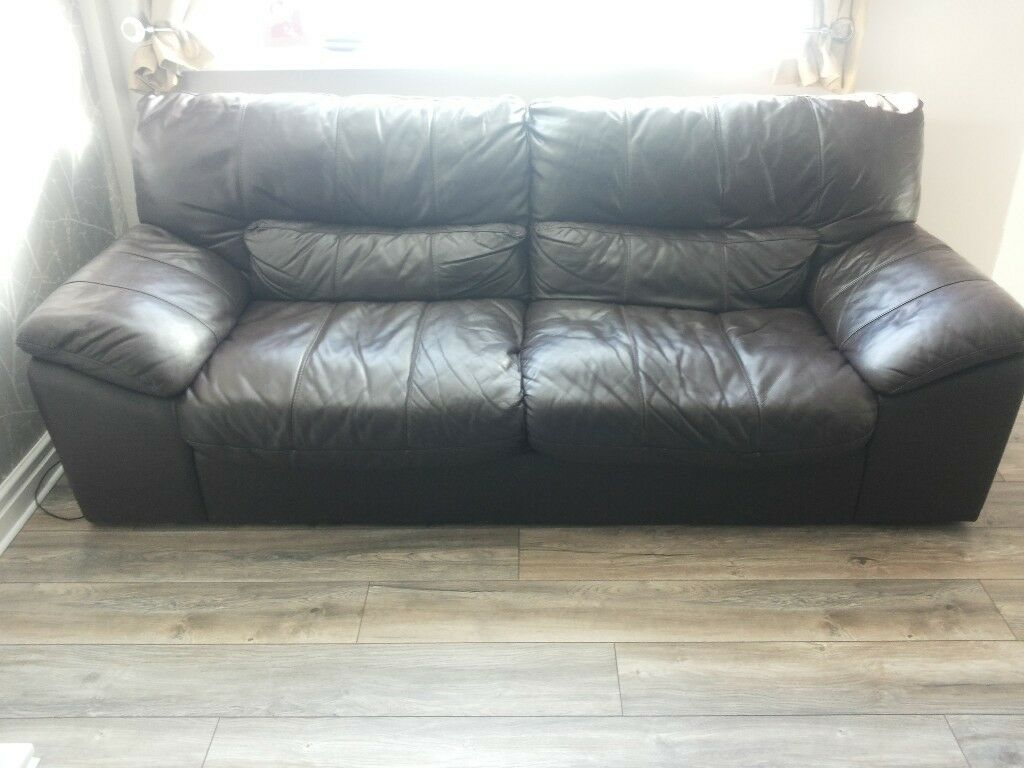 Brown Leather 3 and 2 Seater Sofas