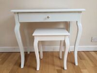 White Dressing Table and Matching Stool