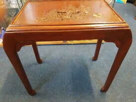 Beautiful Ornate Carved Oriental Side Table with Glass Top