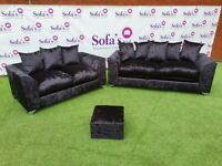 NEW 3+2 BLACK CRUSHED VELVET SOFA SET INC FREE FOOTSTOOL & FREE DELIVERY ALL FOR £329.99