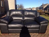 High Quality Black Leather Two Seater Sofa