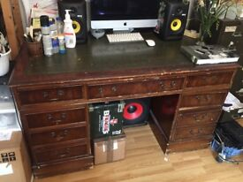 Beautiful vintage desk with green leather top
