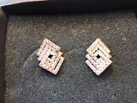 Diamond shaped crystal effect unusual stud earnings - £10
