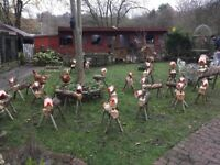 Rustic hand made log reindeer. Available in small, medium and large made to order.