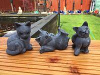 3 Cats Kittens Outdoor Indoor Garden Stone Concrete Cast Statues Cat Kitten