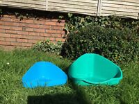 2 (SMALL & MEDIUM) LITTER BOXES - FOR CATS, OR TO BE USED AS SMALL PET BEDS