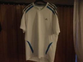 ADIDAS white sports top about 53cms pit-pit. Superb condition and ready to wear. REDUCED.