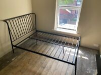 Nearly New Black Metal Habitat Kanso Double Bed Frame - collection only