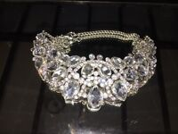 Diamonte Silver-coloured chunky collar Necklace
