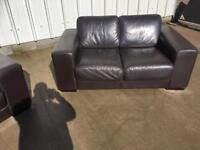 Real Italian leather brown sofa/suite /couch CAN DELIVER