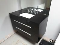 Black Gloss, Wall Hung Vanity Unit with Draw and including Chrome taps and fittings