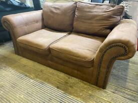 BROWN FABRIC CHESTERFIELD SOFA IN GOOD CONDITION