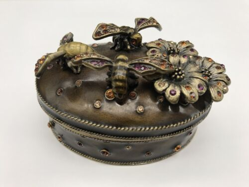 "Jeweled Purple Rhinestone & Enameled Trinket Box 3-1/4"" Oval Bumble Bees Flowers"