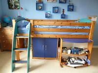 Stompa Mid Sleeper Bed with Cupboard and Pull Out Desk, vgc