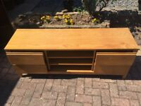 Pine TV Unit With 4 Drawers