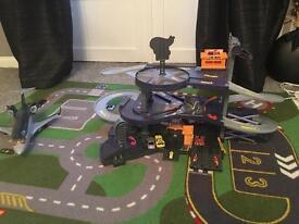 Hot wheels car garage, activity mat and Disney cars plane