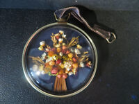 Vintage Retro Cideart Belgium Dried Flower in Convex Glass Wall Hanging. Pressed Flower