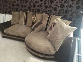 Beige/Cream/Brown KIRK cuddle sofa with foot stool.